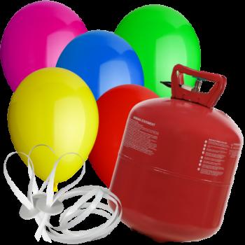 Set Helium, 20 Rundballons, ECO-Schnellverschlüsse